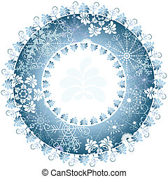 Christmas round frame - Christmas blue round frame on white...