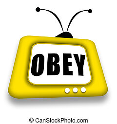Obey TV - Attractive friendly bright yellow TV set with...
