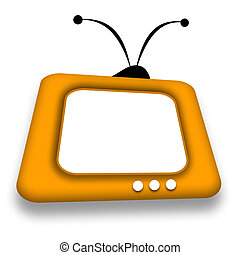 TV set - Yellow comic TV set with blank screen illustration...