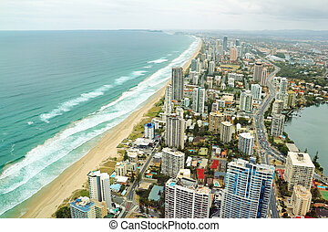 Gold Coast Australia - Aerial view of the famed Gold Coast...