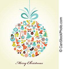 retro, Natal, fundo, xmas, bola