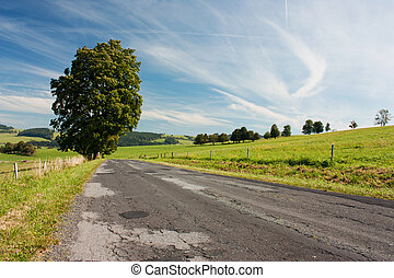 Road and landscape - Landscape and countryside road in North...