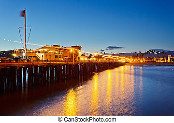 Pier in Santa Barbara at night, California
