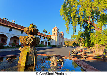 Santa Barbara mission at sunset