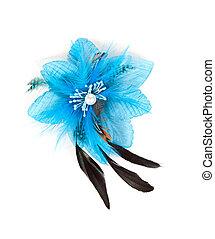 azul, flor, penas, tecido
