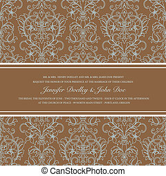 Vector Brown Damask Outline Background