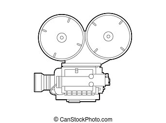 Old movie camera - Vector outline old movie camera on white