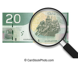 20 Canadian Dollars - Magnifying Glass with a 20 Canadian...