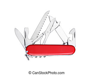 Swiss army knife isolated - Swiss army multipurpose knife...