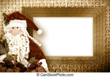 christmas card santa white space framed with gold border