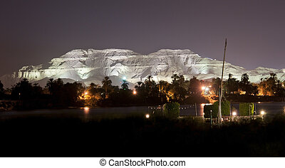 Luxor West Bank lit up at night - Mountains on the west bank...