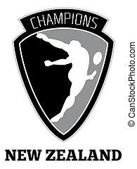 rugby player kicking ball champions New Zealand
