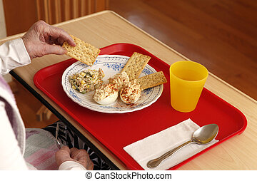Tray with lunch and old person hands