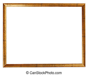 Gold plated wooden picture frame isolated on white