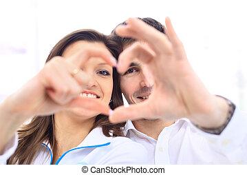 heureux, Sourire, couple, Amour