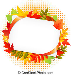 Autumn Leaf And Blank Gift Tag, Isolated On White...
