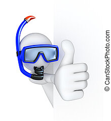 Thumbs Up! Diver, 3d image with a clipping path