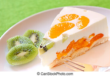 Clementine and kiwi Cake - A delicious cake with clementine...