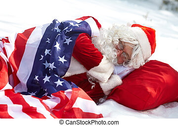 On the way to the USA - Santa Claus sleeping under American...