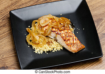grilled salmon with burned onion and couscous
