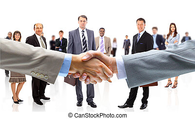 Business people shaking hands - Business people shaking...