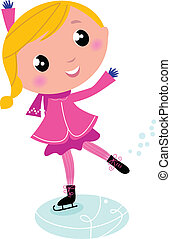 Figure skating cute little blond Child isolated on white -...