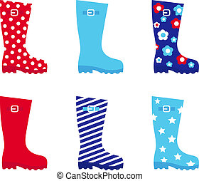 Fresh & colorful rubber wellington boots isolated on white -...