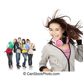 happy smiling girl and young group