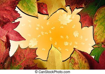 Vibrant Autumn Fall Season leaves on faded gradient...