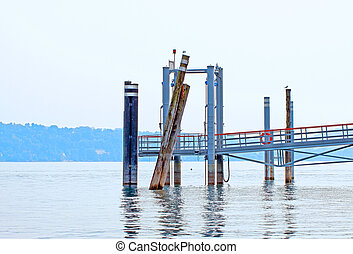 Pier for ships in between a lake