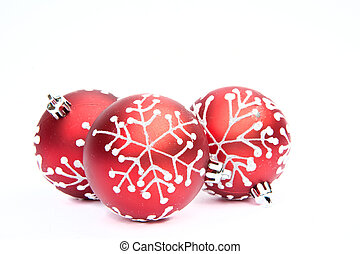 Three Red Christmas bauble tree decorations on white...