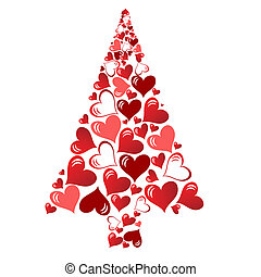 abstract vector christmas tree with lovely hearts