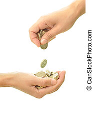 Handing out money - Hand outstretched receiving several...