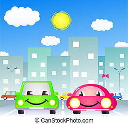two cute car in city - two cute cartoon car in city road