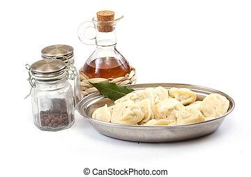 Meat Dumplings - russian pelmeni - with laurel