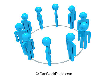 Group of 3D people working