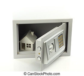 Real property or insurance concept - House model in safe box...