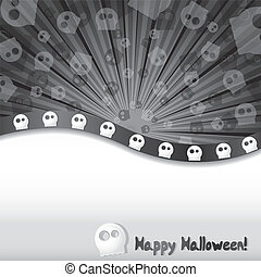 Haloween background with skulls and place for text, vector illustration