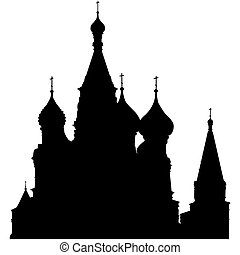 St. Basil's Cathedral silhouette on Red Square, Moscow,...