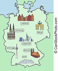 Map of Germany - Germany - famous places on a doodle map:...