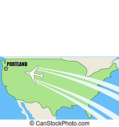 Portland, Oregon - Vector map of USA with airplane inflight...