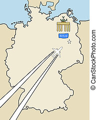 Berlin - Visit Berlin - outline map of Germany and a plane...