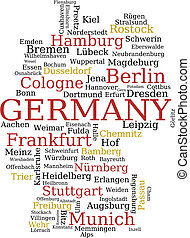 Germany map - Germany - outline map made of city names....