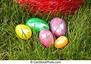 Easter Eggs Red Basket