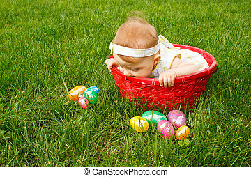 Easter Baby In Basket Peek - Baby in red basket peeking over...