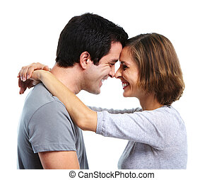 Happy couple. - Happy smiling couple in love. Isolated over...