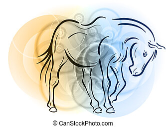 horse on the abstract background