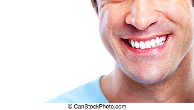 Smiling man - Man with a healty smile Isolated over white...