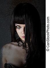 jeune, sorcière, jaune, yeux