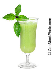 Vegetable Smoothie - Green vegetable smoothie with basil